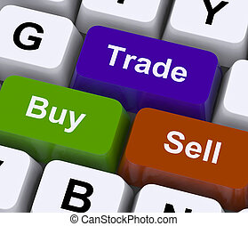 vendre, représenter, achat, commerce, clés, commercer, ligne
