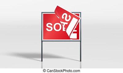 vendu, maison, stand, signage, vente