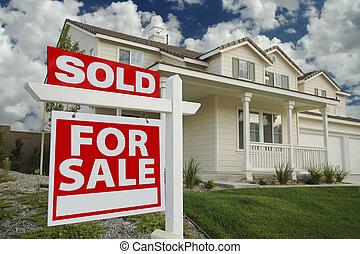 &, vendu, signe vente, nouvelle maison