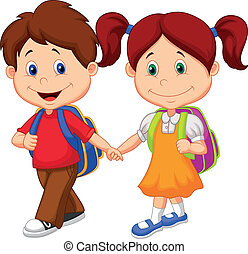 venir, heureux, enfants, ba, dessin animé