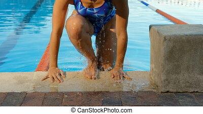 venir, piscine, femme, nageur, dehors, 4k