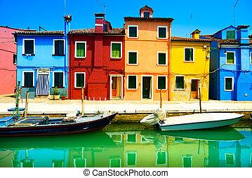venise, burano, canal, coloré, île, photographie, italy., long, maisons, repère, bateaux, exposition