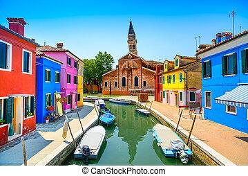 venise, burano, italie, canal, coloré, île, maisons, repère, église, bateaux