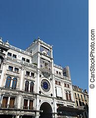 venise, clocktower, -, marque, rue, torre, dell?orologio