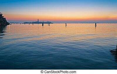 venise, coucher soleil, lagune