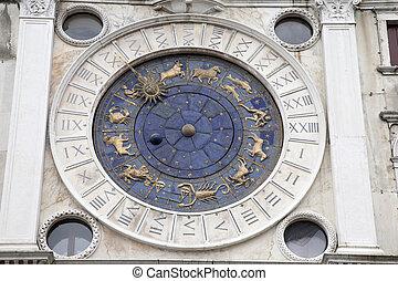 venise, horloge, orologio, -, vallon, tour, torre