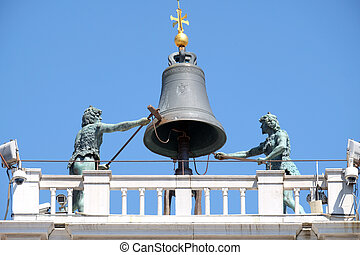 venise, sommet, piazza, dell`orologio, marco, tour, horloge, cloche, torre, ancien, san, italie