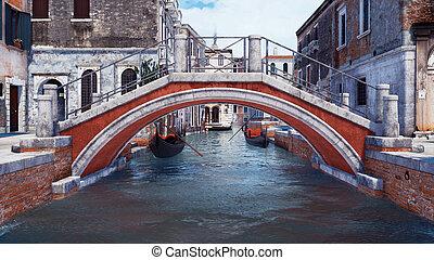 venise, sur, italie, canal, vieux, pierre, eau, pont