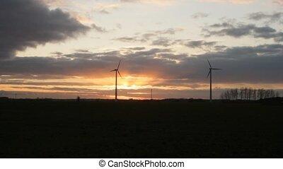vent, 2, turbines, coucher soleil