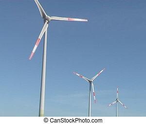 vent, tourner, éoliennes