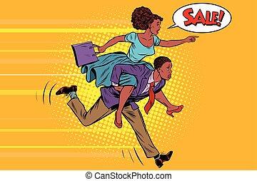 vente, épouse, équitation, mari, courses