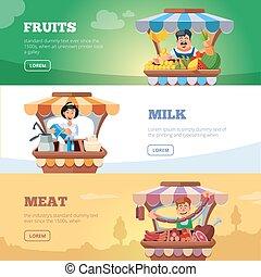 vente, agriculteurs, meat., légumes, local, lait, marché