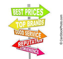 vente, annonces, -, points, flèche, signes, unique, magasin