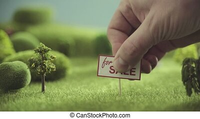 vente, arbres, maison, champ, signe., jouet