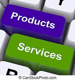 vente, exposition, clés, produits, ligne, services, achat