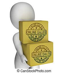 vente, exposition, ventes internet, boîtes, ligne, achat