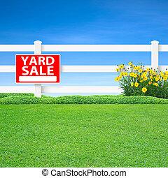 vente jardin, barrière, signe