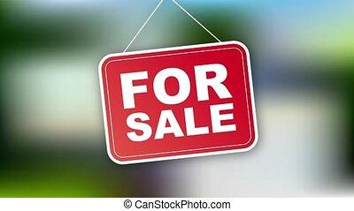 vente, maison, signe, commercialisation, design., graphics., mouvement, tag.