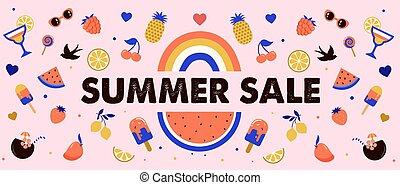 vente, pastèque, cocktails, conception, bannière, fruits, été, crème, glace, arc-en-ciel