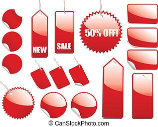 vente, rouges, étiquettes