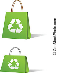 vente, sacs, vert, achats
