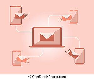 ventes, envoie e-mail commercialisation, vecteur