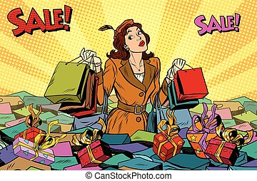 ventes, mer, achats, femme