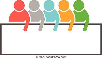 ventes, vecteur, gens, annonce, équipe