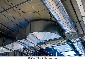ventilation, (heating, air, système, hvac, conditioning), canaux transmission