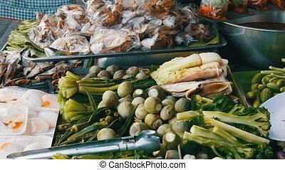 verdure, counter., bouilli, variété, nourriture, oeufs, compteur, nourriture., rue, thailand., asiatique, divers, thaï, grows