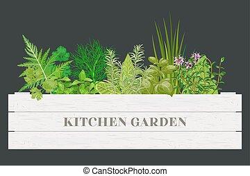 verdure, cuisine, ferme, ciboulette, bois, text., box., étiquettes, caisse, herbes, thym, origan, frais, romarin, blanc, basilic