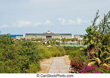 verdure, tropiques, hôtel, passé, recours, côtier