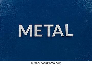 vergé, surface, couleur lettres, bleu, mot, argent, métal