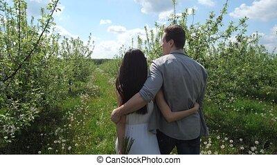 verger pomme, couple, jeune, étreindre, promenade, pendant