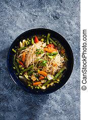 vermicelle, remuer, soupe, laksa, singapourien, frire, vegan, plant-based, végétariens, nourriture, nouilles