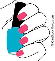 vernis à ongles, clous, main