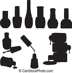 vernis à ongles, ensemble, bouteilles, vecteur