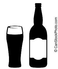 verre, bière, noir, bouteille