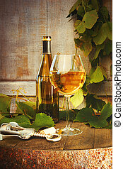 verre, blanc, baril, bouteille, vin