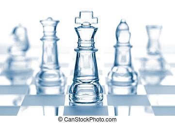 verre, blanc, isolé, transparent, échecs