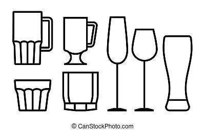 verre, boisson, ensemble, icône