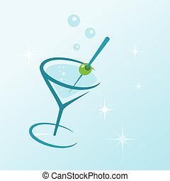 verre, boisson, martini