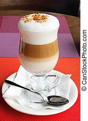 verre, café, latte