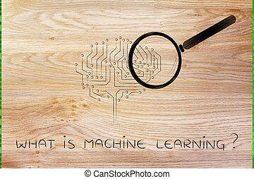 verre, cerveau, magnifier, machine électronique, apprentissage