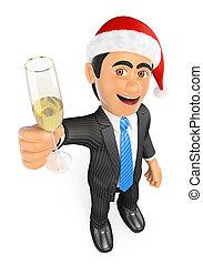 verre champagne, homme affaires, grillage, noël, 3d
