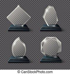 verre, clair, récompense, cristal, vecteur, buts, équipe, certificats, trophées, stockage