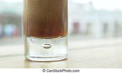 verre, close-up., cafe., verser, soude