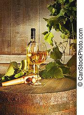 verre, closeup, bouteille, blanc, baril, vin