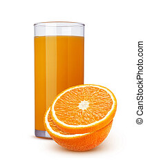 verre cocktail, citrus, isolé, jus, fond, orange, frais, blanc