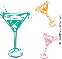 verre, cocktail, illustration
